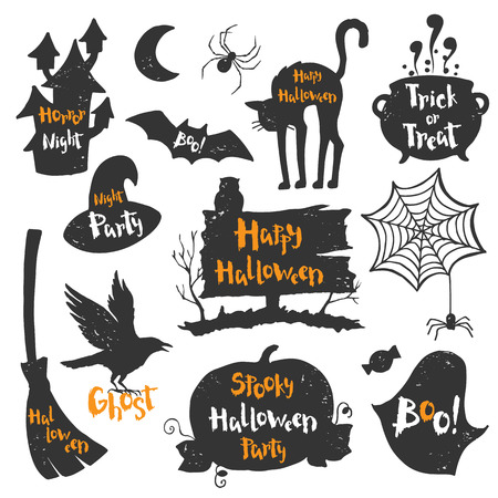 spiderweb: Set of black labels, badges and lettering for a happy Halloween. illustration for a party in a modern style.