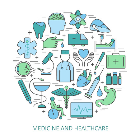 Modern of thin linear concept on a theme medicine and health symbols. High quality icons.