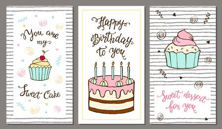 marco cumpleaños: Conjunto de tarjetas postales con letras y pastel dulce. ilustración para tarjetas de felicitación, menús, invitaciones y cumpleaños.