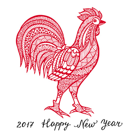 chinese calendar: Rooster symbol 2017 by the Chinese calendar. Illustration of a red rooster with flower pattern of lettering. design element for new year.