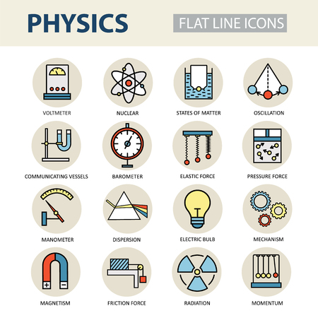 Modern thin linear icons of physics and laboratory experiments. Set of colored for science and education.