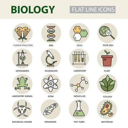 bio hazardous: Set of modern linear icons with biology elements. for science and education.