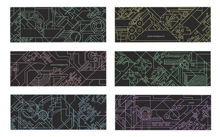 Résumé géométrique jeu de fond. illustration pour l'impression et l'industrie du papier. Dessin technique des mécanismes et des machines-outils.