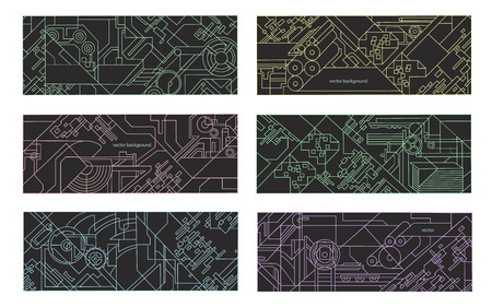 Abstract geometric background set. illustration for printing and paper industry. Technical drawing of mechanisms and machine tools. Illustration