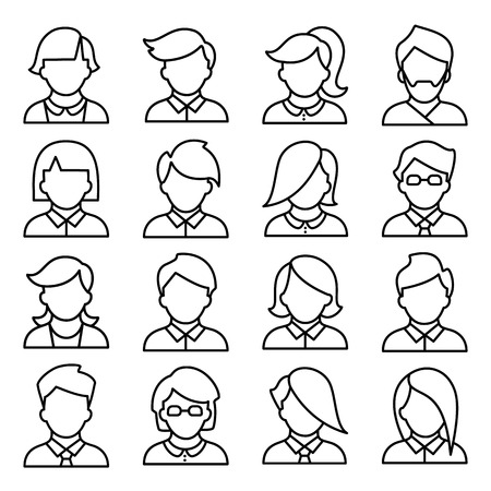teenage: Set of icons of men and women in a flat linear style. people avatars.
