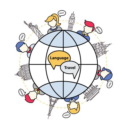 観光の言語。世界のランドマークと異なる言語でのスピーチの泡を持つ人々 のアイコン。  イラスト・ベクター素材