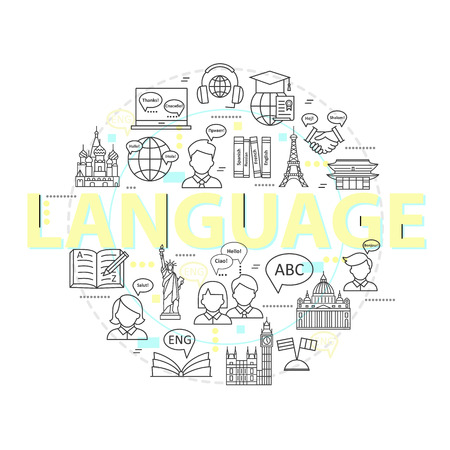 lexicon: Modern thin line concepts of learning foreign languages, language training school. for trendy designs. icons and elements. Illustration