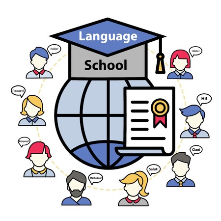 language school and education abroad. Linear design for learning foreign languages. Illustration