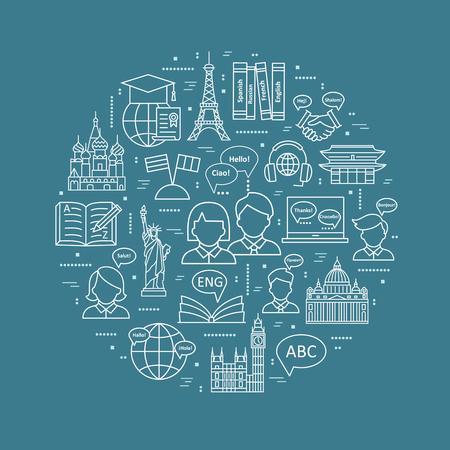 Nowoczesne koncepcje cienkich linii nauczania języków obcych, szkoła językowa. modne wzory. ikony i elementy. Ilustracje wektorowe