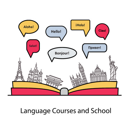 for the language courses and schools. Modern linear concept with an open book, with speech bubbles in different languages and the worlds landmarks. Illustration