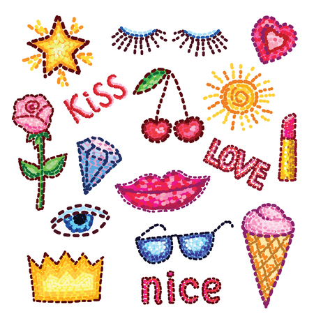 patches: Set of modern elements patches rose, lips, star, diamond, eyes, crown, inscriptions and other. stickers in the style of pop art for your design. Illustration