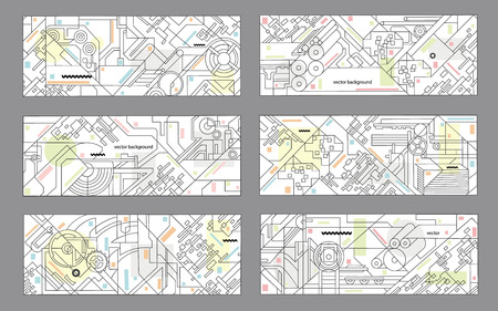 machine tools: Abstract geometric background set. illustration for printing and paper industry. Technical drawing of mechanisms and machine tools. Illustration