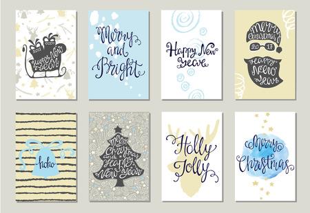 Ensemble de cartes de voeux de Noël. illustration avec lettrage.
