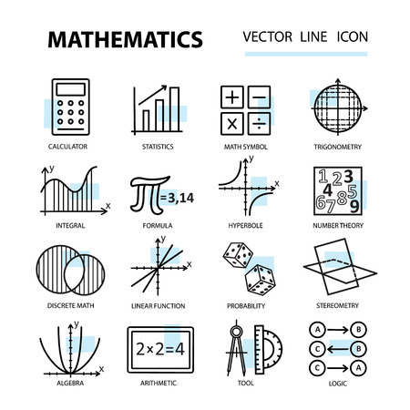 icons: Set of modern thin line icons for math. illustration with different elements on the subject mathematics.