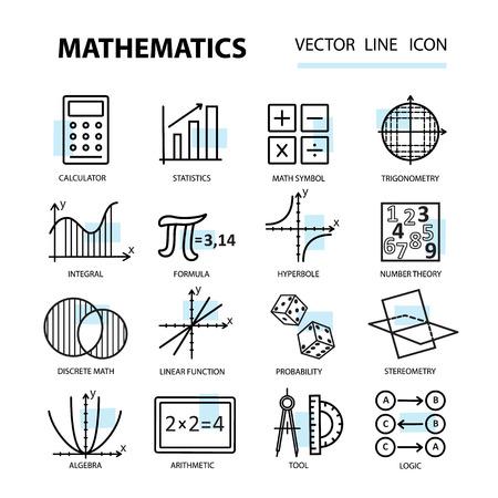 Set van moderne dunne lijn iconen voor wiskunde. illustratie met verschillende elementen op het vak wiskunde. Stock Illustratie