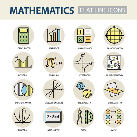 Set of modern thin line icons for math. illustration with different elements on the subject mathematics.