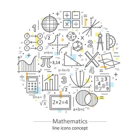 Concept de mathématiques à la fine pointe de la couleur moderne pour l'école, l'université et la formation. Illustration avec différents éléments sur le sujet des mathématiques. Concepts pour les dessins tendance.