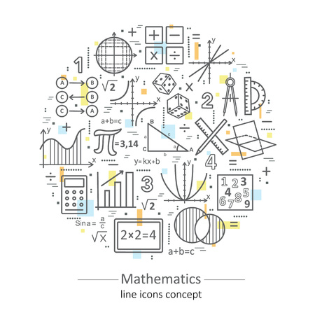Modern color thin line concept of mathematics for school, university and training. illustration with different elements on the subject mathematics. Concepts for Trendy Designs.
