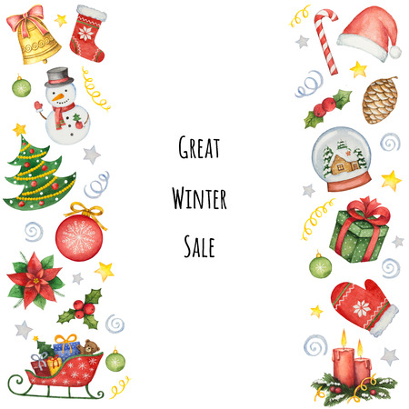 Hand painted watercolor background with elements for Christmas sale. Illustration for design cards, invitations and greetings.