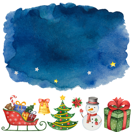 Hand painted blue dark watercolor background with elements for merry Christmas and happy new year. Illustration for design cards, invitations and greetings.