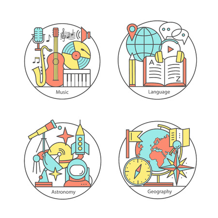 geography: Set of music, language, astronomy, geography. Modern thin line icons.