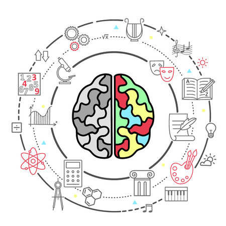 hemisphere: Icons of human brain activity. Concept for left and right hemisphere of human brain intellectual work, intelligence, productivity and creativity. Illustration