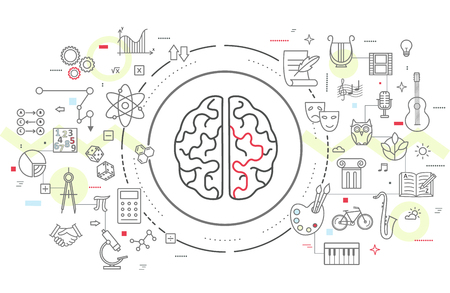 creativity: Icons of human brain activity. Concept for left and right hemisphere of human brain intellectual work, intelligence, productivity and creativity. Illustration