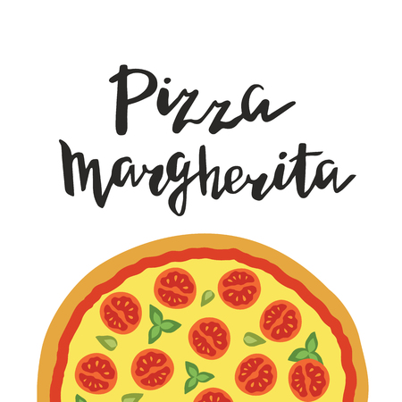 margherita: illustration of Margherita Pizza and hand lettering isolated on a white background