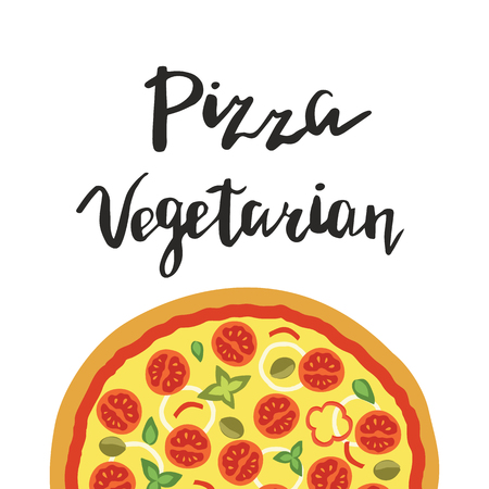 illustration of Vegetarian Pizza and hand lettering isolated on a white background