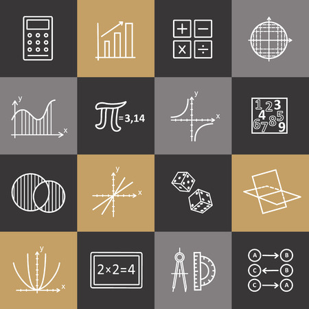 discrete: Set of modern thin line icons for math. Vector illustration with different elements.