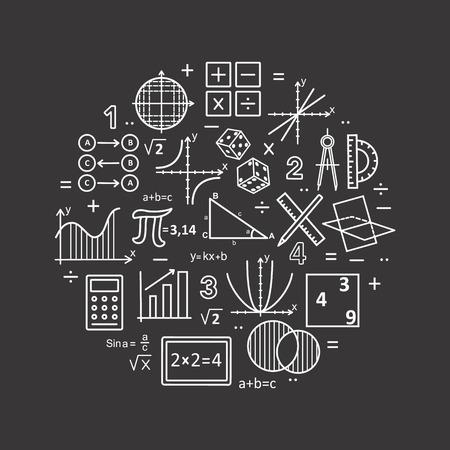 Maîtrise de la couleur moderne du concept de mathématiques sur fond noir. Illustration vectorielle avec différents éléments sur le sujet des mathématiques. Concepts de logo pour les dessins tendance.