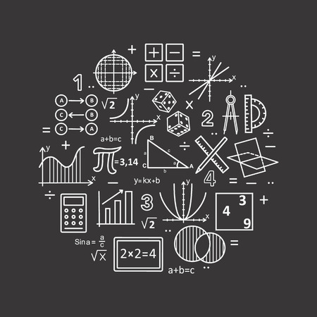 Moderne Farbe dünne Linie Konzept der Mathematik auf einem schwarzen Hintergrund. Vektor-Illustration mit verschiedenen Elementen auf dem Thema Mathematik. Logo Konzepte für trendige Designs.