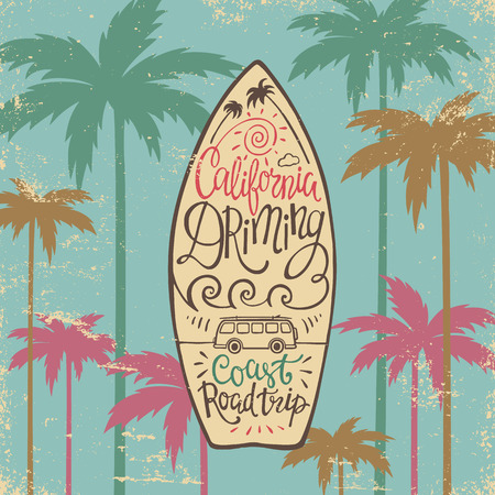 paradise beach: Hand lettering poster with the inscription California dreaming in the form of surfboards. Vector illustration for posters, t-shirts, bags and other.