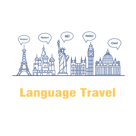 talking dictionary: Vector logo for the language courses and schools. Modern linear concept with speech bubbles in different languages and the worlds landmarks.