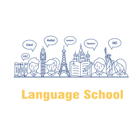 Vector illustration for the language courses and schools. Modern linear concept with people, speech bubbles in different languages and the worlds landmarks. Illustration