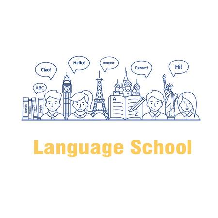 Vector illustratie voor de taalcursussen en scholen. Modern lineaire concept met mensen, tekstballonnen in verschillende talen en werelden bezienswaardigheden.