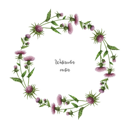 Watercolor vector round frame of milk Thistle. Healing Herbs for design Natural Cosmetics, aromatherapy, medicine, health products and homeopathy.