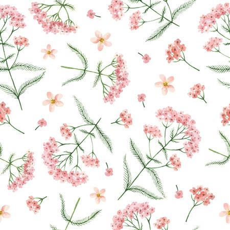水彩ベクトル ノコギリソウの花と枝のシームレスなパターン。繊維、紙、その他の印刷および web プロジェクトの背景。  イラスト・ベクター素材