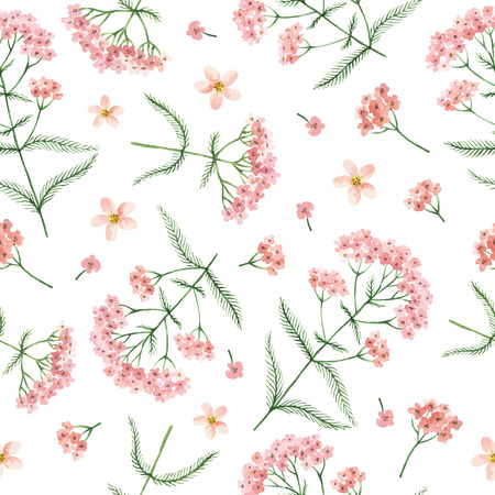 Watercolor vector seamless pattern with yarrow flowers and branches. Background for textile, paper and other print and web projects. Illustration