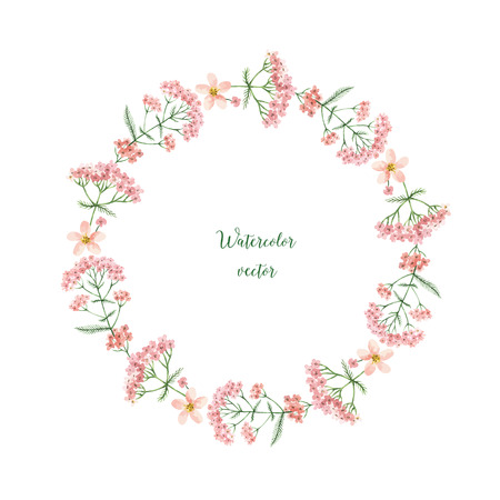 Watercolor vector round frame of yarrow. Healing Herbs for design Natural Cosmetics, aromatherapy, medicine, health products and homeopathy. 矢量图像