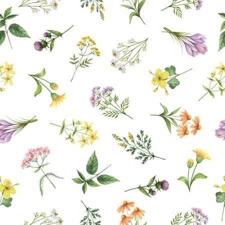 花と枝の水彩のシームレスなパターン。繊維、紙、その他の印刷および web プロジェクトの背景。