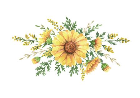 ajenjo: Ramo de acuarela con plantas de prado. La decoración única para las tarjetas, invitación de la boda, carteles, ahorra el diseño de la fecha o del saludo. Foto de archivo