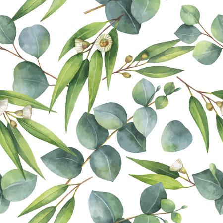 ユーカリの葉と枝水彩ベクトル シームレス パターン。 写真素材