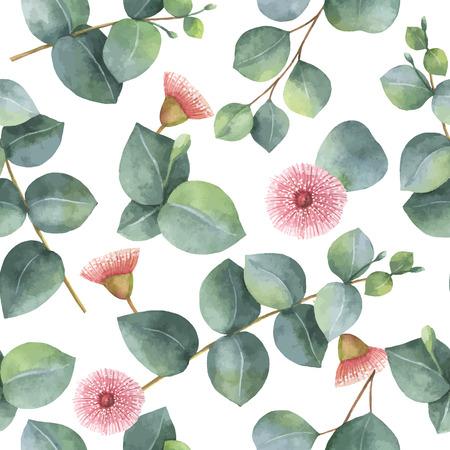 Watercolor vector naadloze patroon met zilveren dollar eucalyptus bladeren en takken.