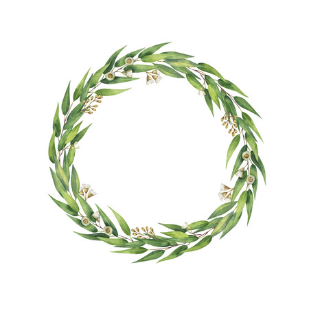 branches with leaves: Watercolor hand painted round wreath with eucalyptus leaves and branches.