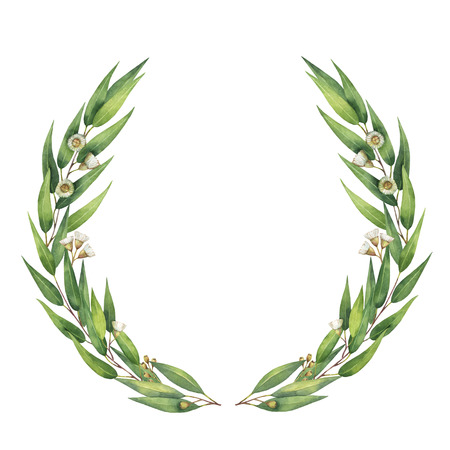 Watercolor round wreath with green eucalyptus leaves and branches.