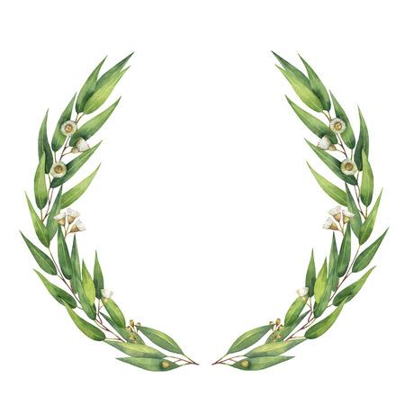 Aquarell runder Kranz mit grünen Eukalyptusblättern und Ästen.