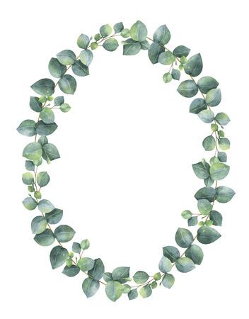 Aquarell hand oval Kranz mit Silberdollar Eukalyptus bemalt. Standard-Bild - 71152556