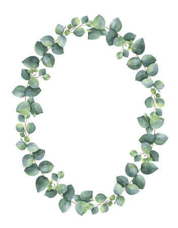 Watercolor hand painted oval wreath with silver dollar eucalyptus. Reklamní fotografie - 71152556