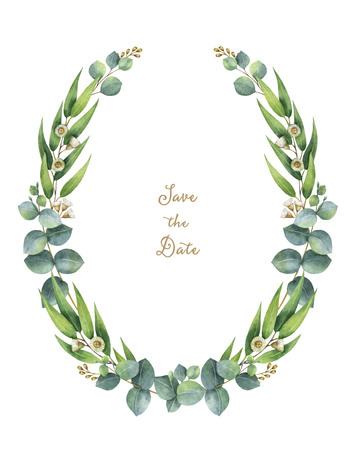ovalo: corona de la acuarela con las hojas de eucalipto verdes y ramas. Foto de archivo